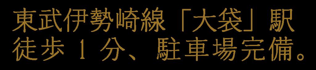 東武伊勢崎線「大袋」駅徒歩1分、駐車場完備。